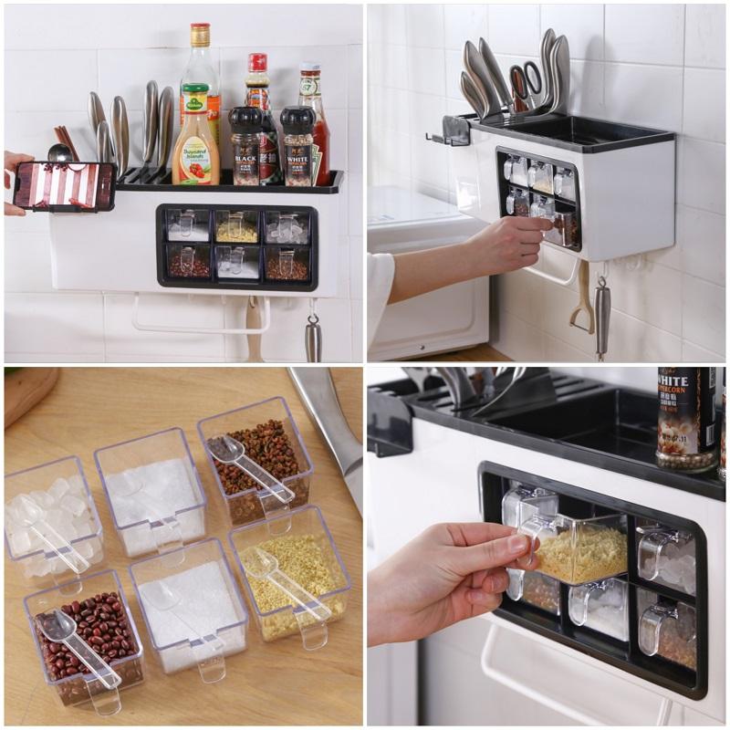Kệ treo đồ nhà bếp đa năng Promax Kitchen Walls Storage tích hợp giá đỡ điện thoại, có nhiều ngăn để gia vị, vật dụng nhà bếp