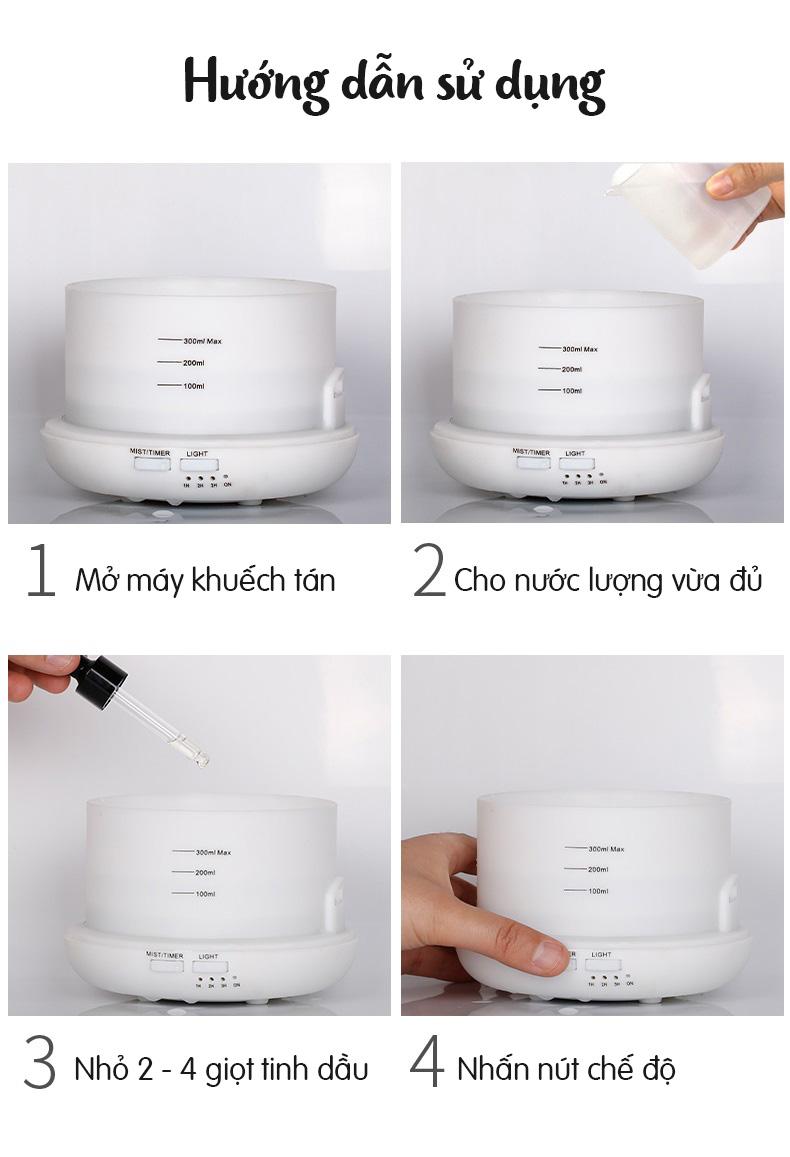 Máy phun sương khuếch tán tinh dầu mini tích hợp Wifi Alex và Google Home- Promax GD 07 (300ml)