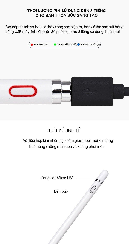 Bút cảm ứng stylus đầu nhỏ USams US-ZB057- Có kẹp bút