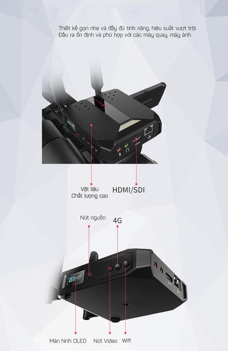 Thiết bị livestream capture tích hợp bộ mã hóa Wifi 4G-LTE H.265 Promax Q7 chuyên phát sóng trực tiếp ngoài trời