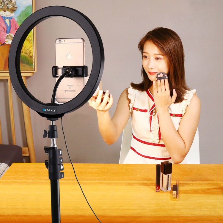 Bộ đèn LED trợ sáng điện thoại khi chụp hình, livestream Promax Puluz PKT3035 (Gồm Tripod và bộ đèn LED)