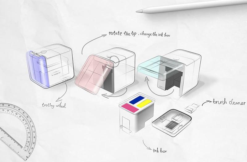 Máy in màu mini cầm tay di động nhỏ nhất thế giới PrinCube