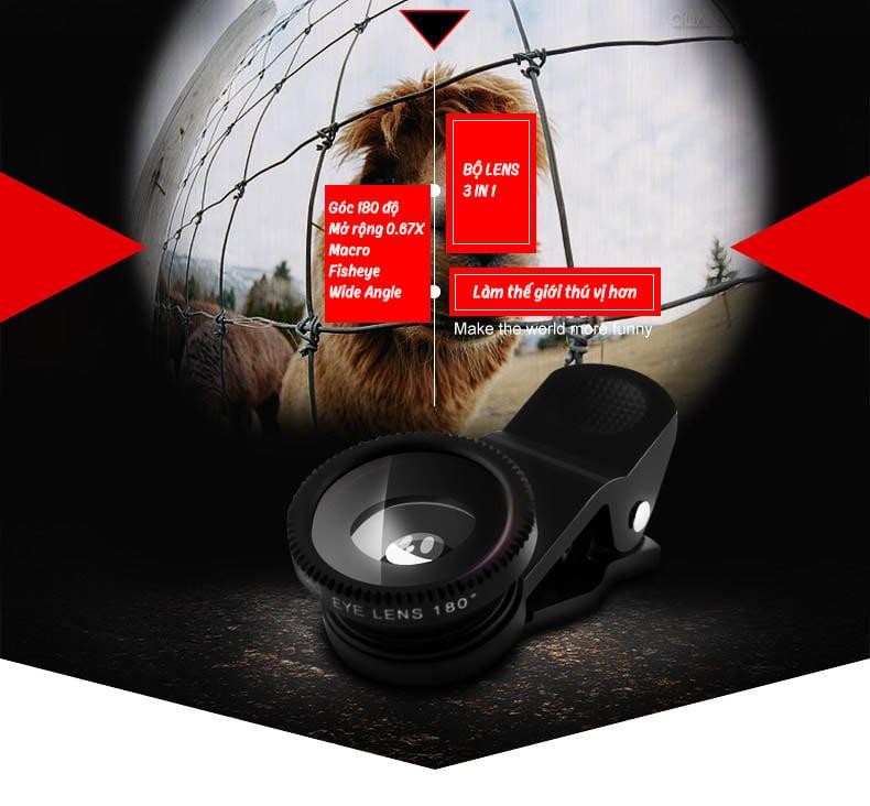 - Góc rộng 0.67X, Ống kính siêu Macro, ống kính Fisheye 180 độ
