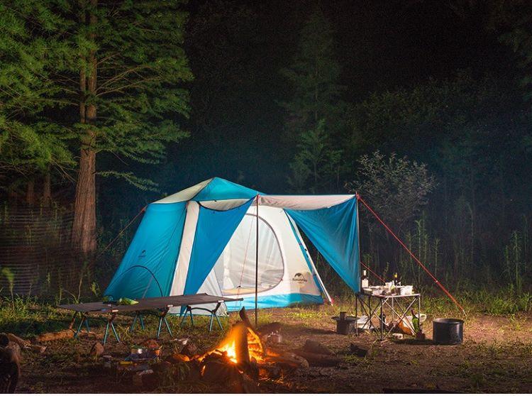 Lều du lịch 6 người tự bung màu xanh da trời