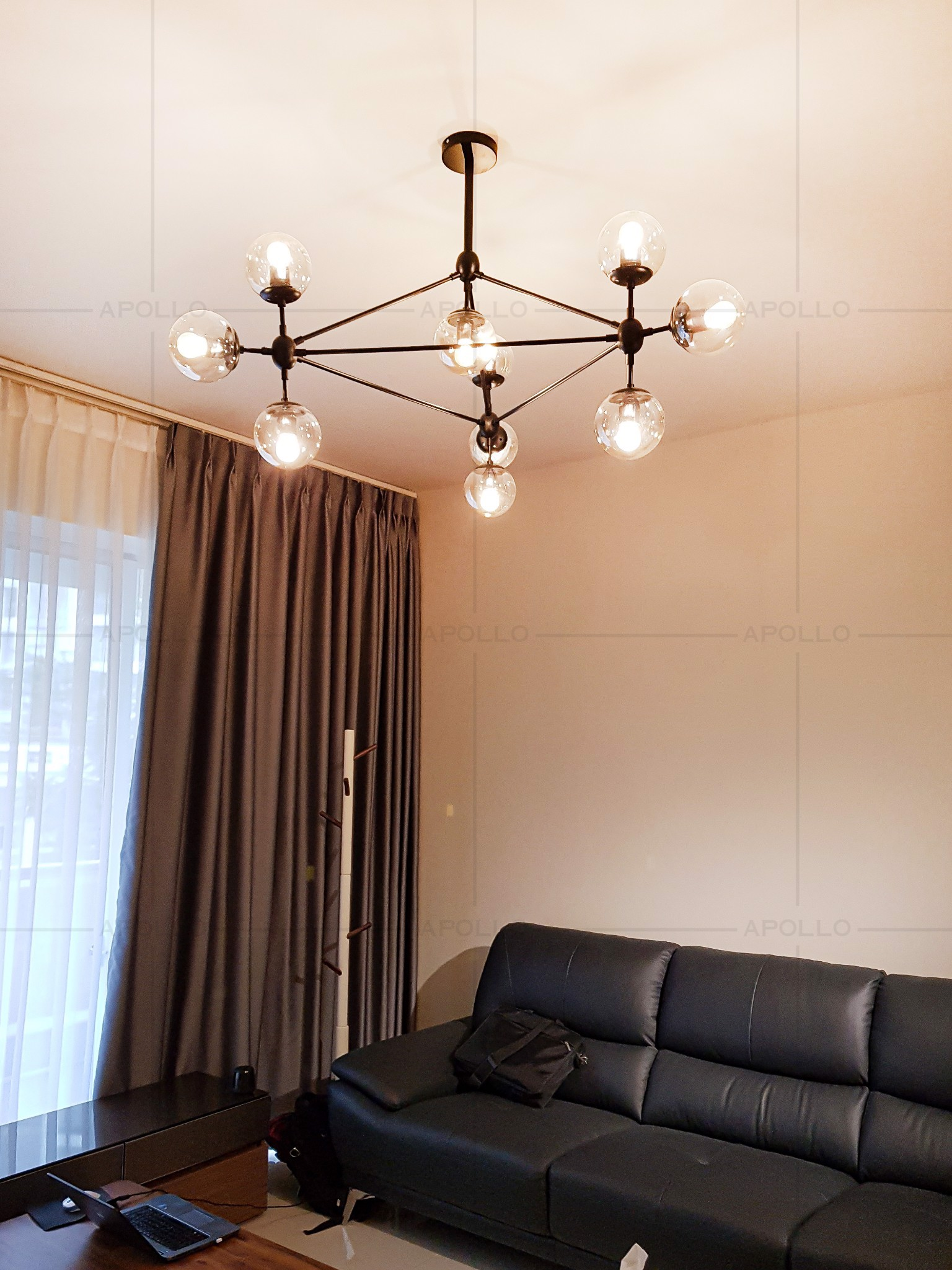 đèn chùm modo 10 đầu trang trí phòng khách căn hộ
