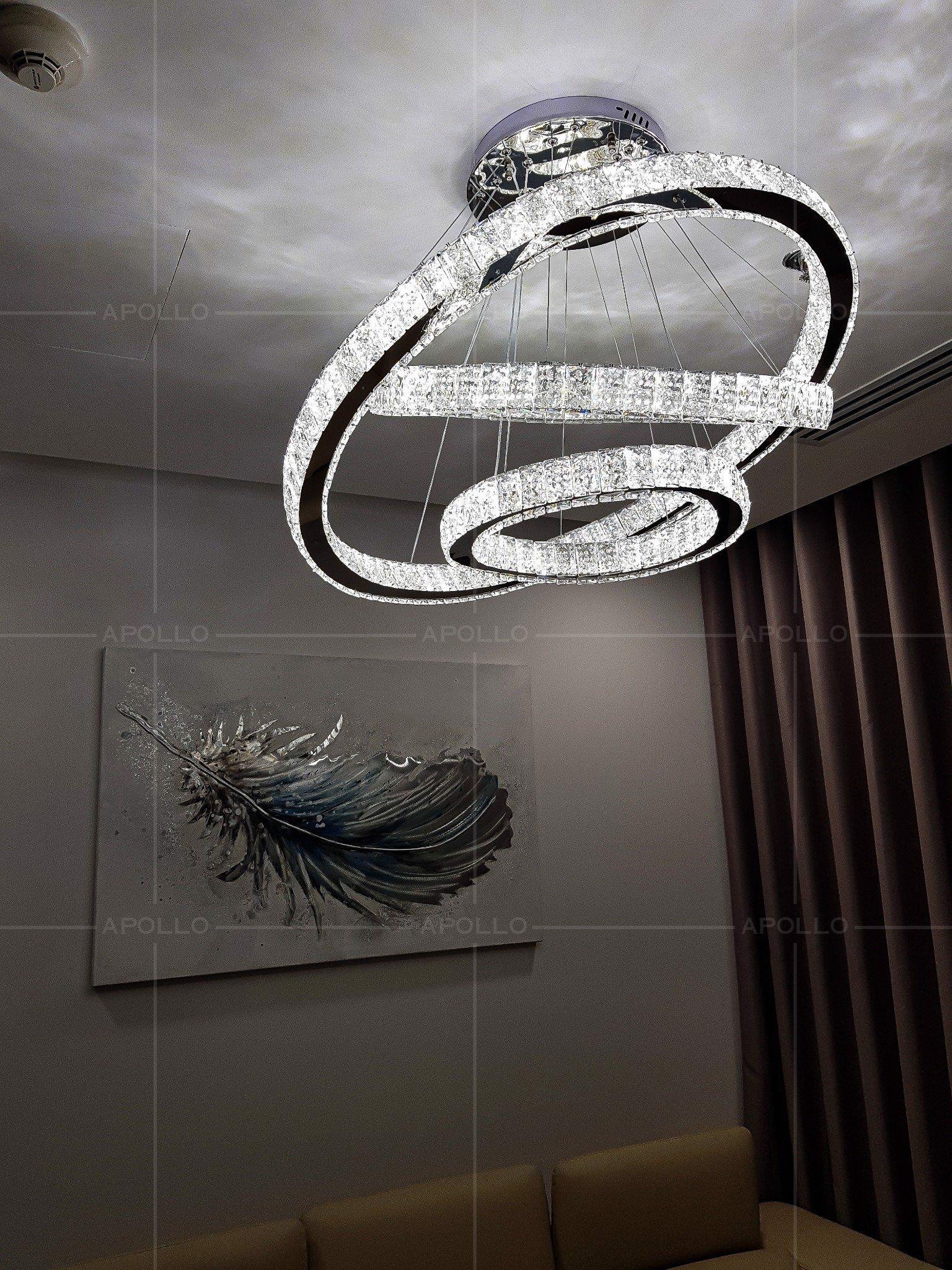 đèn thả pha lê 3 vòng bản lớn