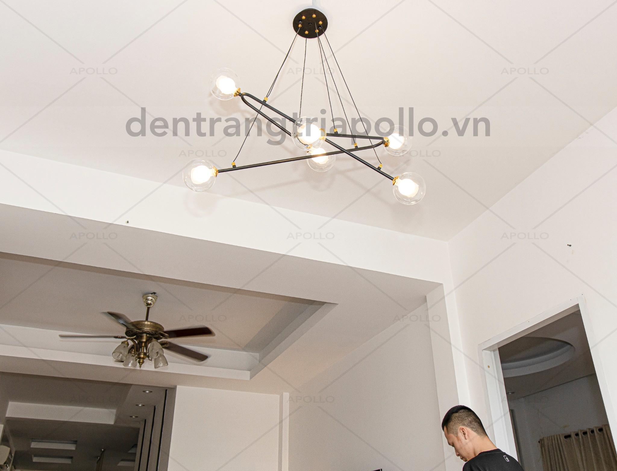 đèn chùm decor thủy tinh trang trí phòng khách