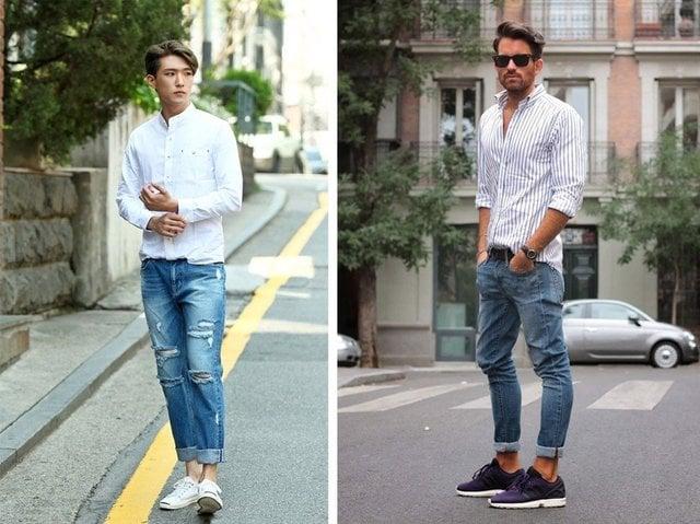 Áo sơ mi và quần jeans