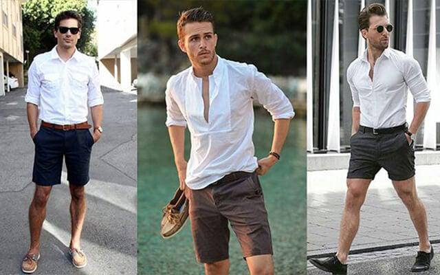 Cách phối áo sơ mi trắng nam với quần short