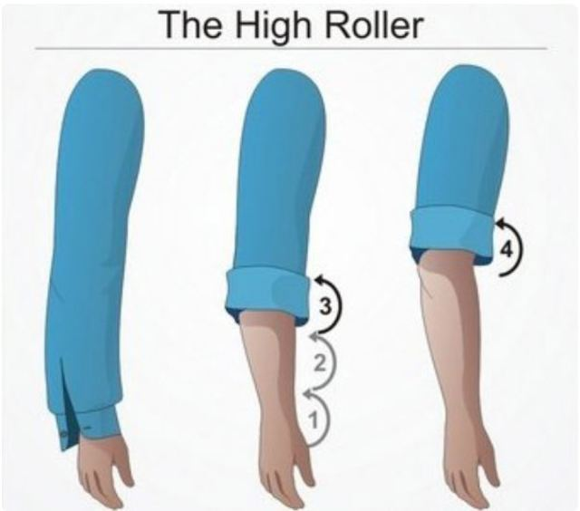 Cách xắn tay áo sơ mi nam High Roller