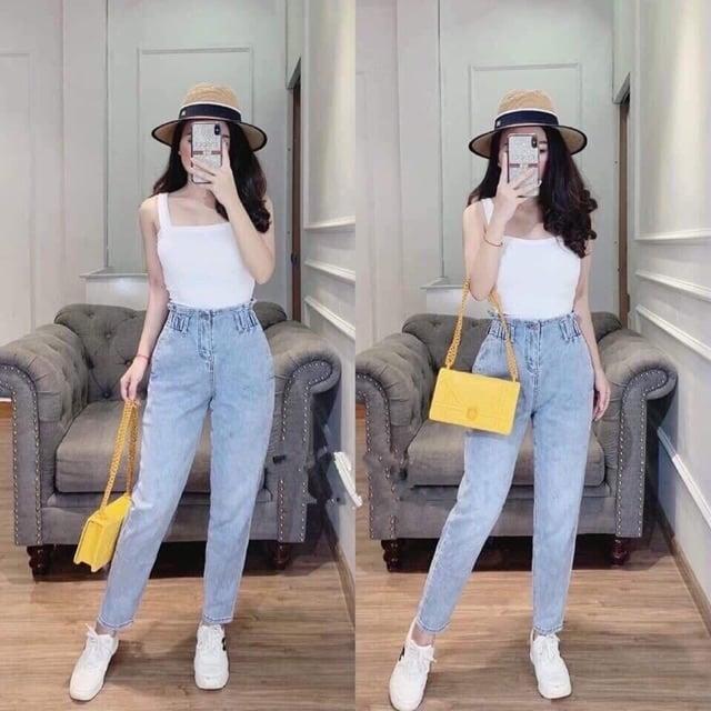 Phối đồ với quần baggy jean lưng thun