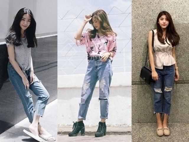 Cách phối đồ với quần jean rách nữ