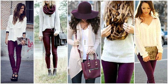 phối trang phục màu tím và trắng