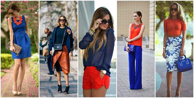 trang phục cam và xanh da trời