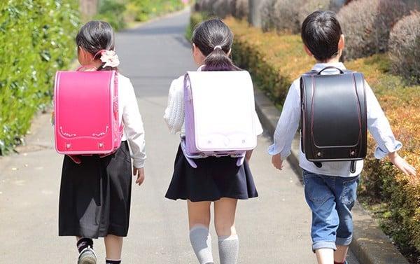 (ảnh: cặp chống gù của Nhật có 1 mẫu mã truyền thống)