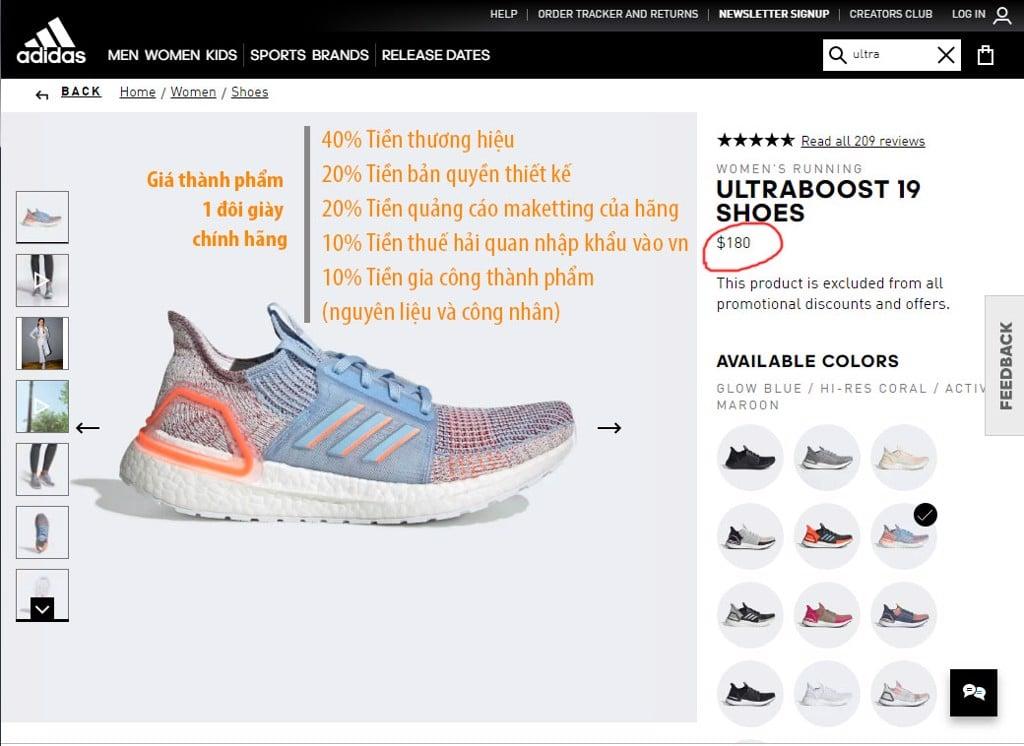 giày chính hãng giá thành phẩm