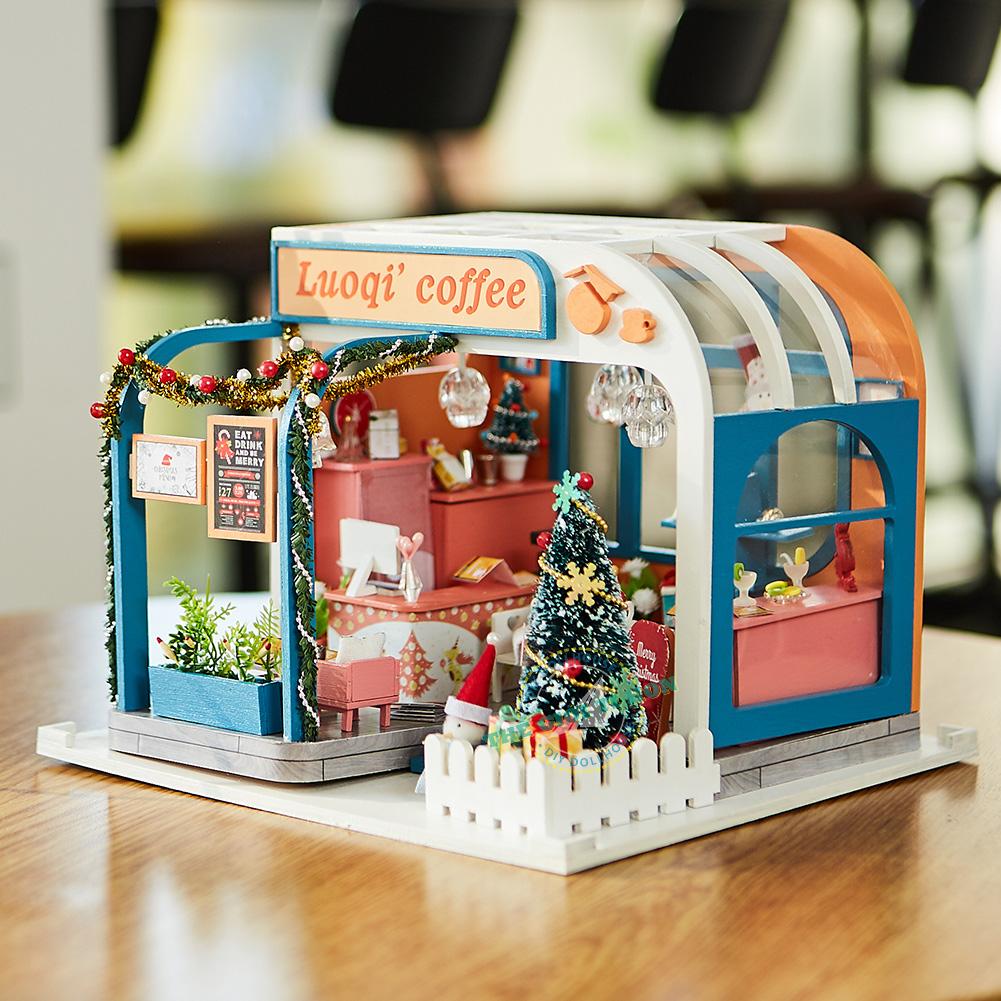 Quà tặng giáng sinh độc đáo quán cà phê miniature bằng gỗ Mã SP K046