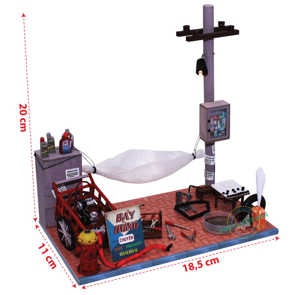 đồ chơi ký ức mô hình gỗ tí hon sửa xe vỉa hè sài gòn GP03  (1)