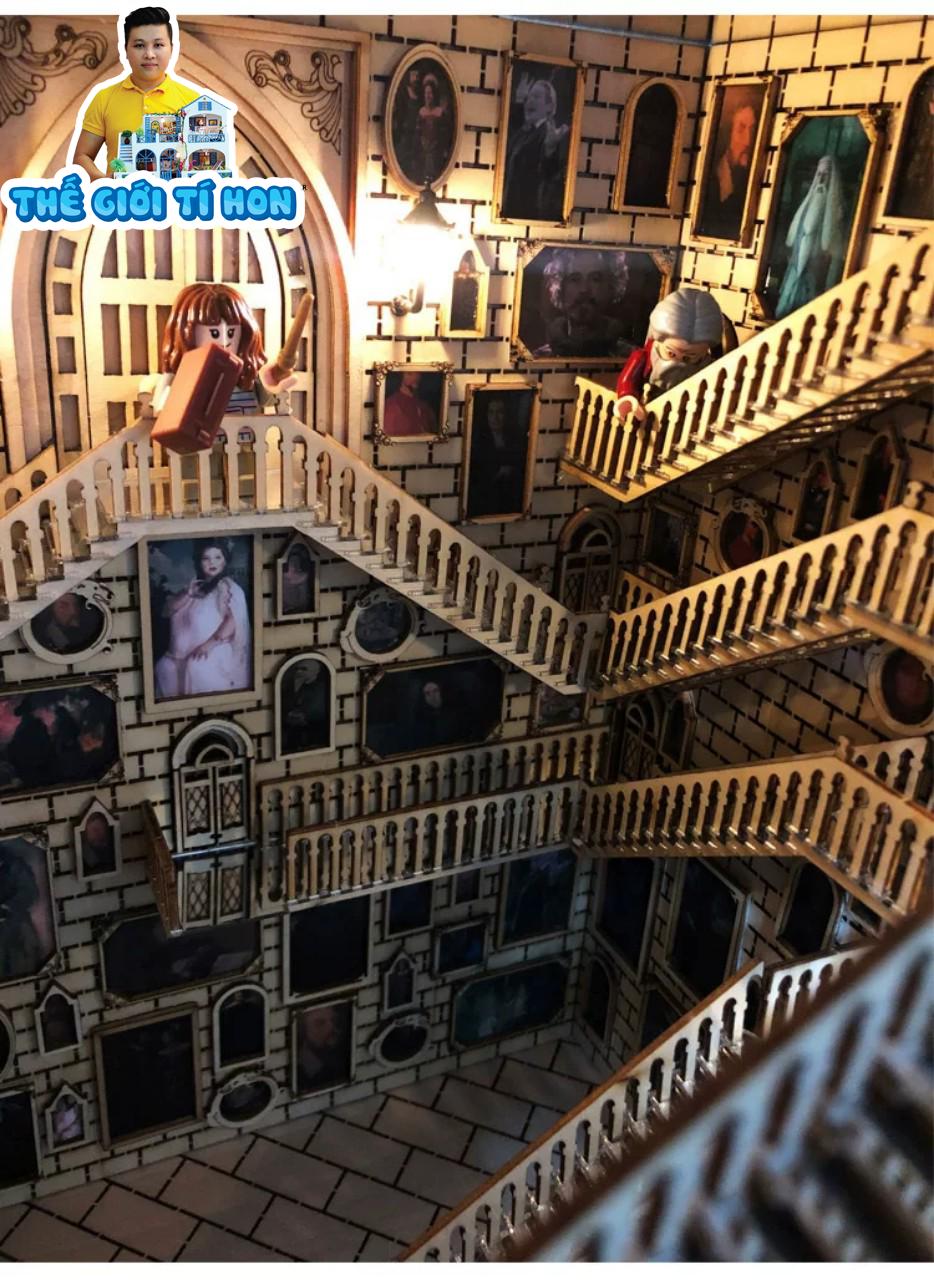 mô hình Booknook gỗ DIY tự lắp ráp dùng để chặn sách - Hogwarts BN001 (1)