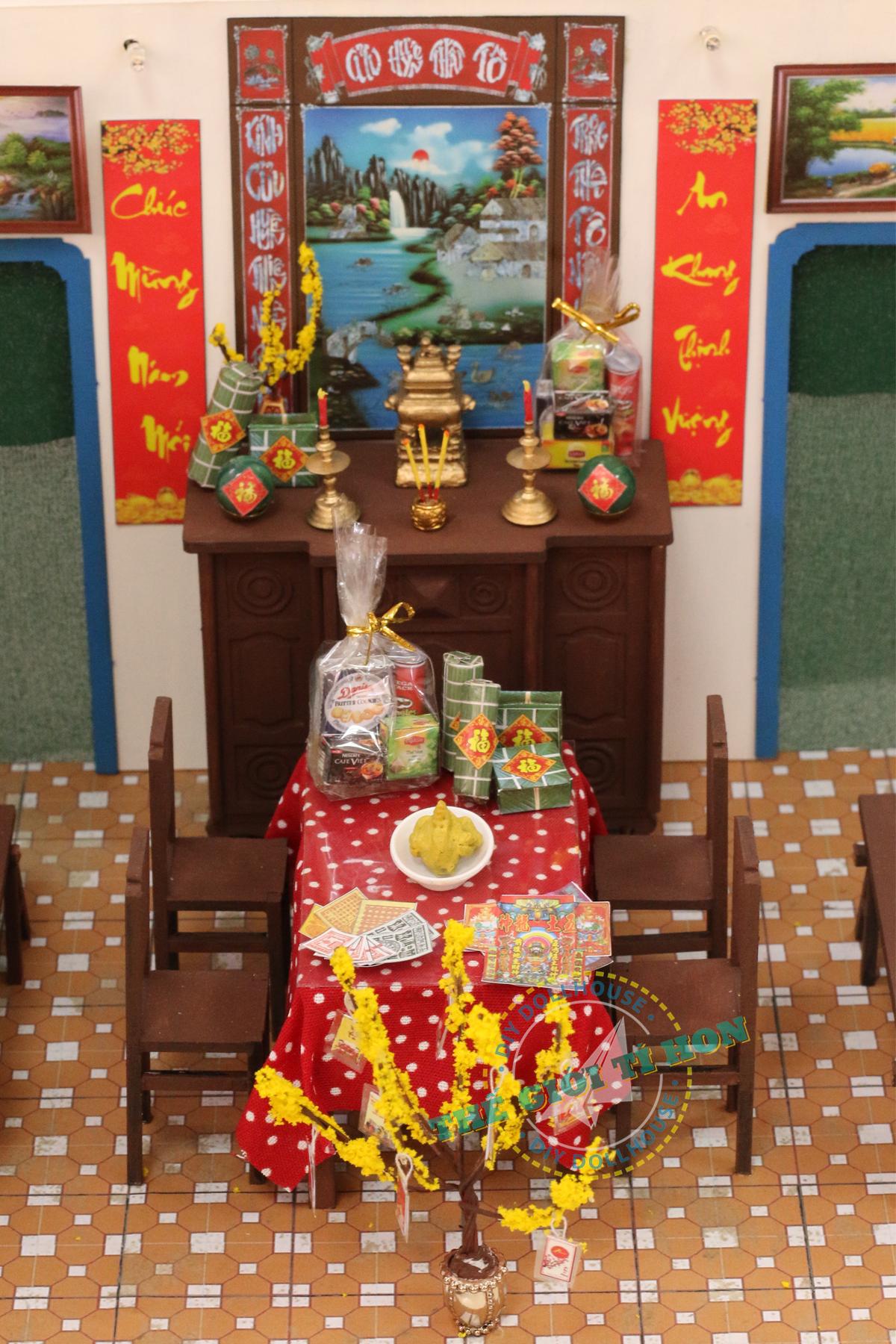 mô hình tết nguyên đán Sài Gòn Xưa bằng gỗ tí hon - Tết Sum Vầy - TX06 (1)