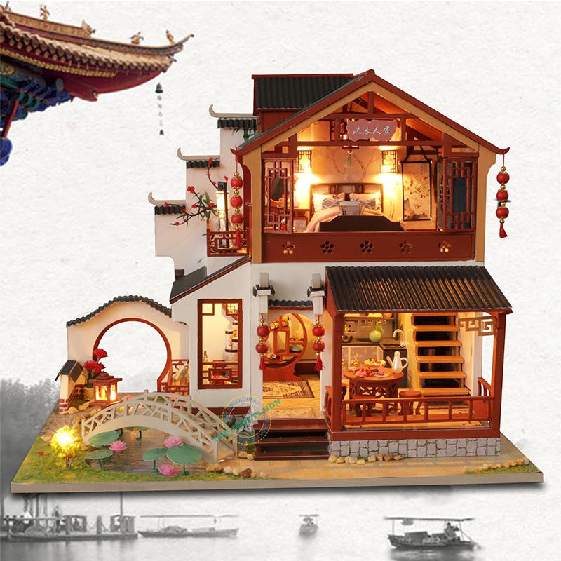 mô hình gỗ diy biệt thự cổ trang đẹp P003 (2)