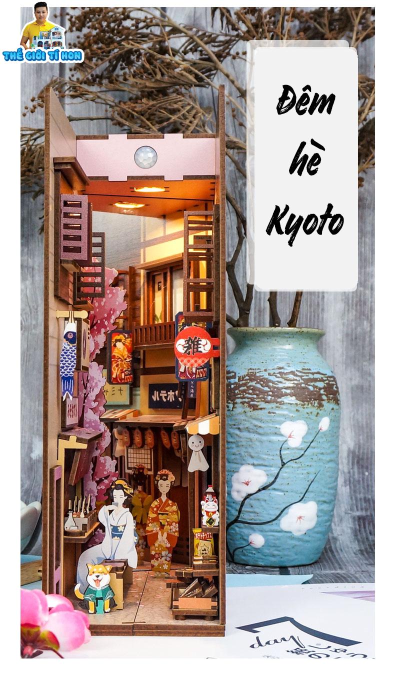 mô hình gỗ diy chặn sách phong cách nhật bản tự lắp ghép - Đêm Hè Kyoto - bn003 (1)