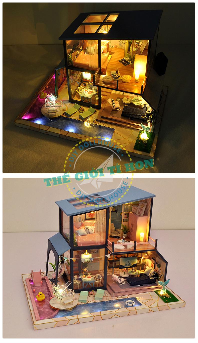 Nhà Mô Hình Búp Bê Handmade Bằng Gỗ Tí Hon tự lắp ráp - Mã TB17 (1)