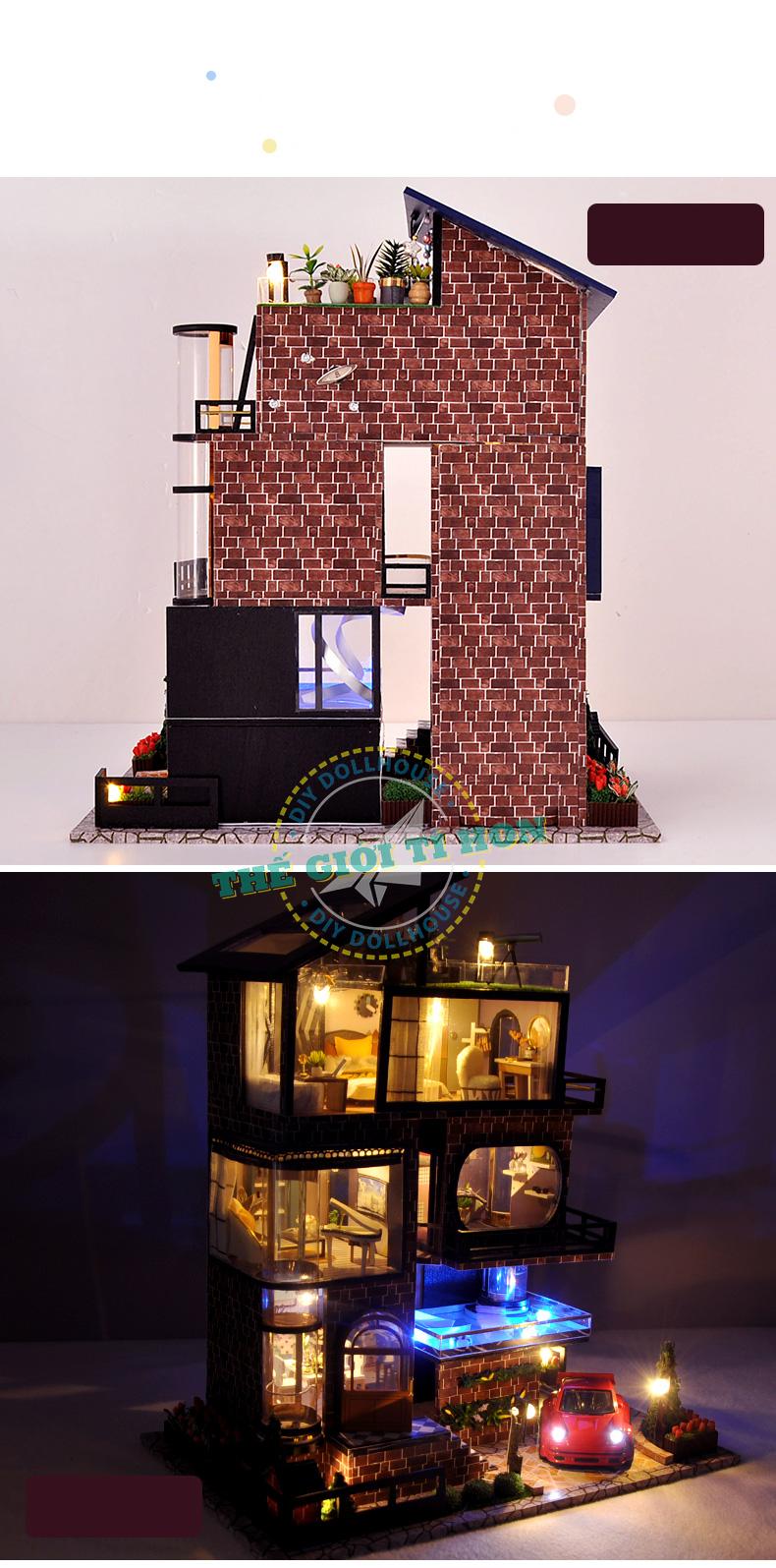 mô hình biệt thự nhà gỗ tí hon phong cách hiện đại sang trọng tự lắp ghép - tb21 (1)