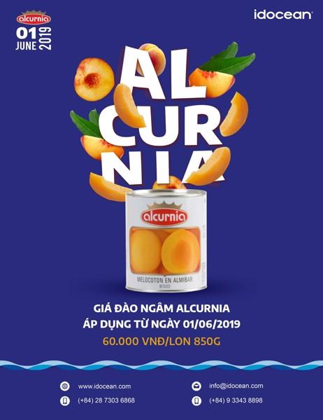 Giá đào ngâm Alcurnia được áp dụng từ ngày 01/06/2019
