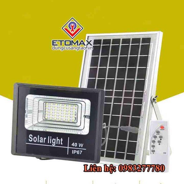 Đèn led năng lượng mặt trời 40w kèm điều khiển từ xa
