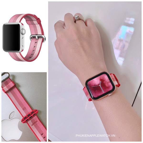 woven nylon berry apple watch