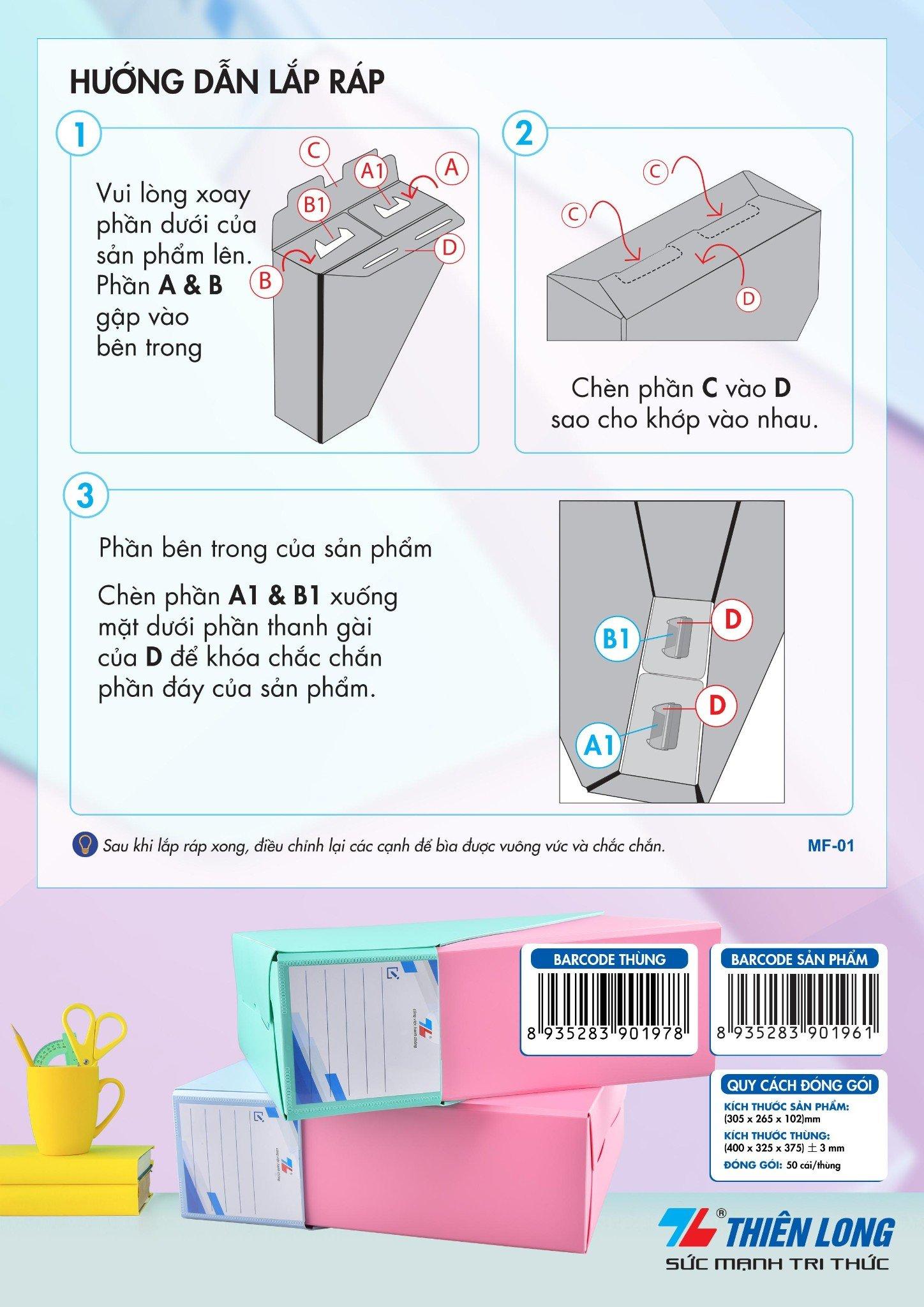 Khay hồ sơ nhựa Thiên Long PP A4 MF-01