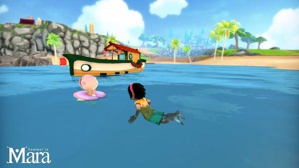 bơi lội trong game nông trại summer of mara