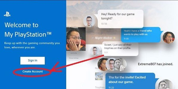 How to create a PSN account on PS4 step 1