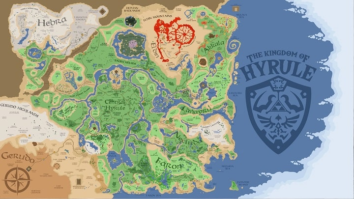 map hyrule The legend of Zelda Breath of the wild