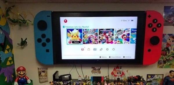 mở tivi cùng Nintendo Switch