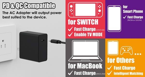 Nguồn sạc Skull & Co 45W AC Adapter Nintendo Switch chất lượng cao