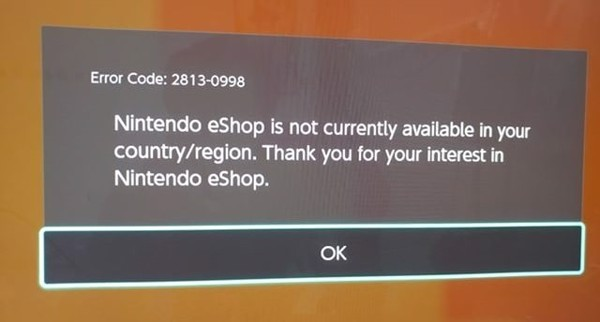 Nintendo eShop is not currently available in your country