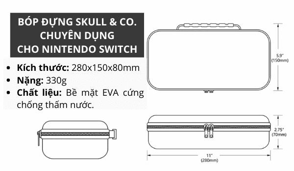 Phụ kiện Nintendo Switch Bóp đựng máy cao cấp kích thước lớn Skull & Co