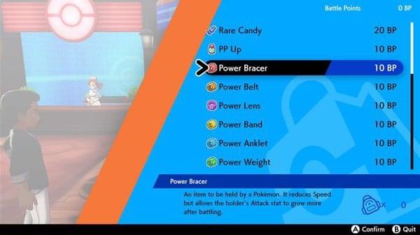 Item Power dùng để tăng chỉ số EV cho Pokemon