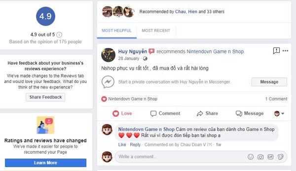 review facebook 5 sao