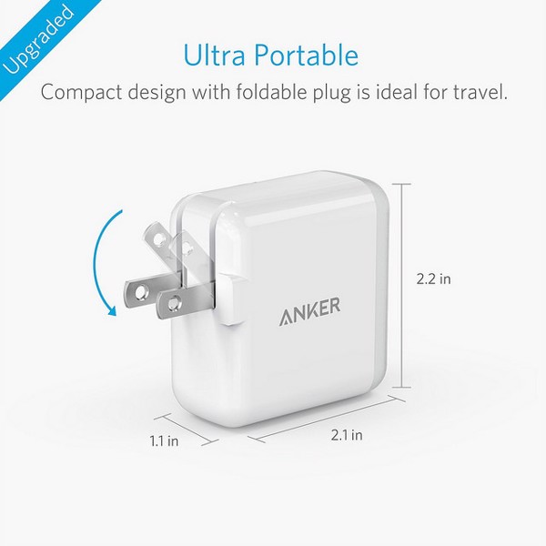 ANKER POWERPORT 2 USB WALL CHARGER 2 PORT 24W