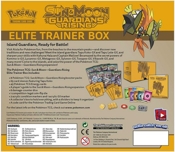 GUARDIANS RISING ELITE TRAINER BOX POKEMON TRADING CARD GAME