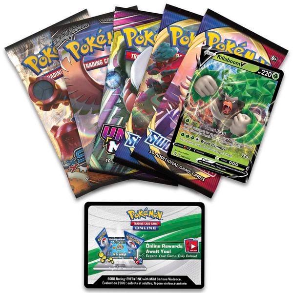 shop pokemon bán bài Pokemon Galar Partners Tin Rillaboom V giá rẻ
