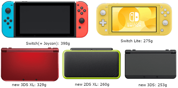 Máy chơi game cầm tay Switch Lite so sánh cân nặng