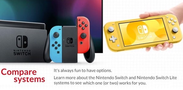 so sánh Nintendo Switch Lite và Nintendo Switch