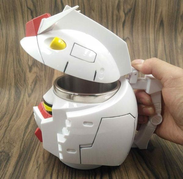 stainless steel gundam head mug