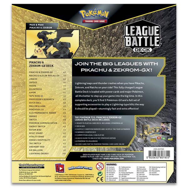 sưu tập bài Pokemon Pikachu Zekrom-GX League Battle Deck real