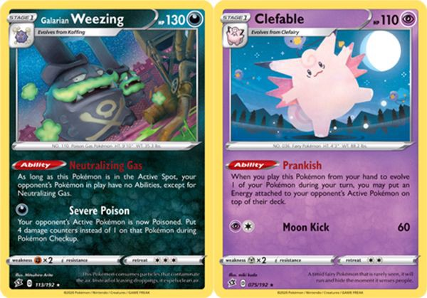 thẻ bài pokemon Galarian Weezing & Clefable
