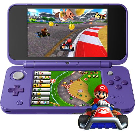 mua máy chơi game New Nintendo 2DS XL Purple Silver Mario Kart 7 Bundle